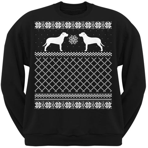 Pit Bull Terrier Black Adult Ugly Christmas Sweater Crew Neck Sweatshirt