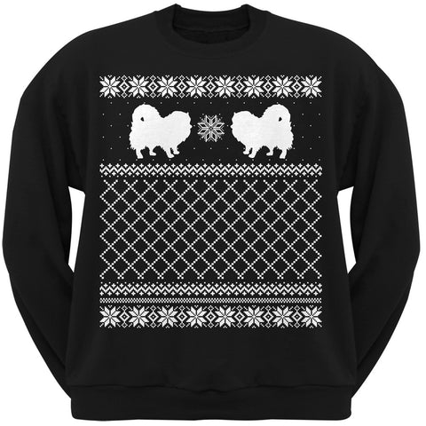 Pomeranian Black Adult Ugly Christmas Sweater Crew Neck Sweatshirt