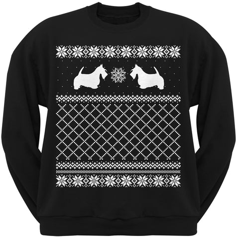 Scottish Terrier Black Adult Ugly Christmas Sweater Crew Neck Sweatshirt