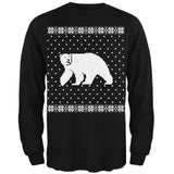 Big Polar Bear Ugly Christmas Sweater Black Long Sleeve T-Shirt