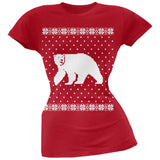 Big Polar Bear Ugly Christmas Sweater Black Soft Juniors T-Shirt