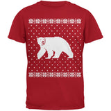 Big Polar Bear Ugly Christmas Sweater Black Adult T-Shirt