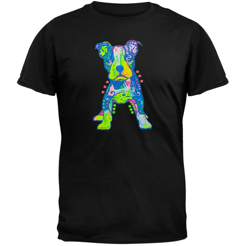 On My Own Pit Bull Puppy Neon Black Light Adult T-Shirt