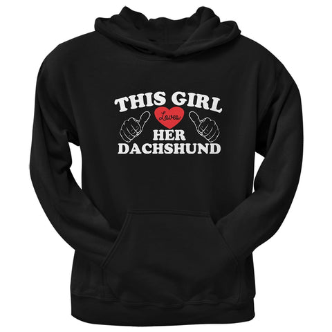 Valentine's Day - This Girl Loves Her Dachshund Black Adult Pullover Hoodie