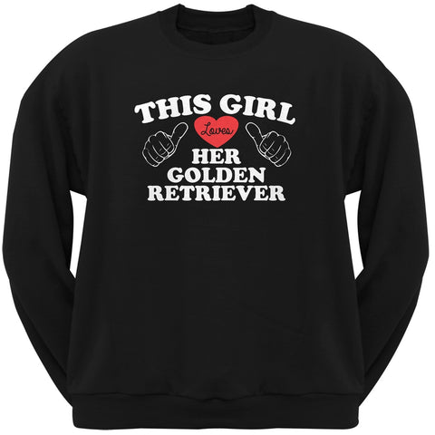 Valentine's Day - This Girl Loves Her Golden Retriever Adult Crew Sweatshirt