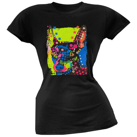 Miniature Pinscher Neon Black Light Juniors T-Shirt