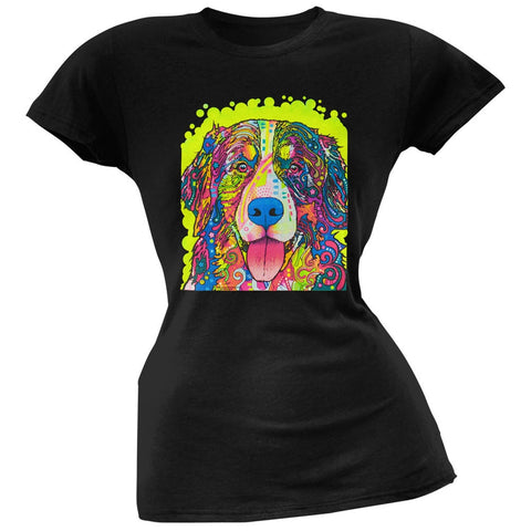 Bernese Mountain Dog Neon Black Light Juniors T-Shirt