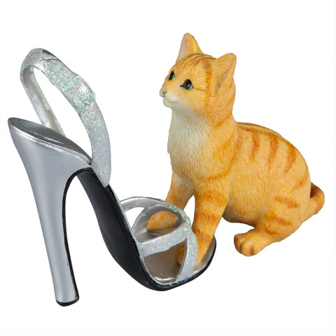 Kitten With Strappy Stiletto Figurine