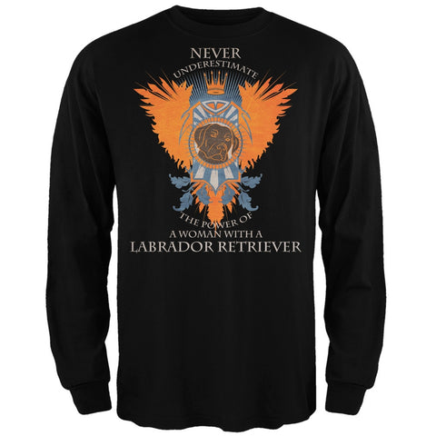 Never Underestimate Woman Power Labrador Adult Black Long Sleeve T-Shirt