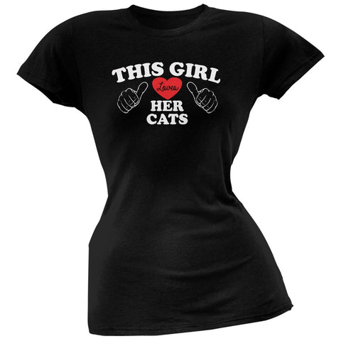 This Girl Loves Her Cats Black Soft Juniors T-Shirt