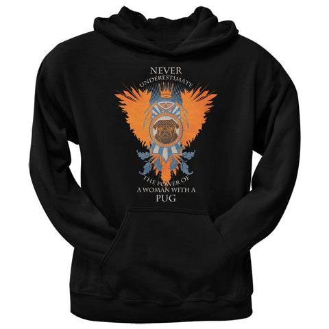 Never Underestimate Woman Power Pug Black Adult Pullover Hoodie