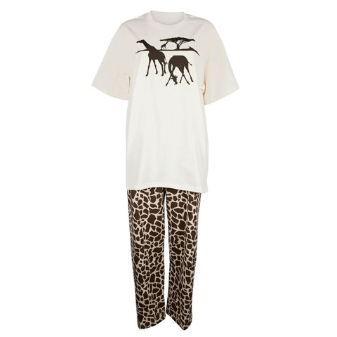 Giraffe Grazing Womens Pajama Set