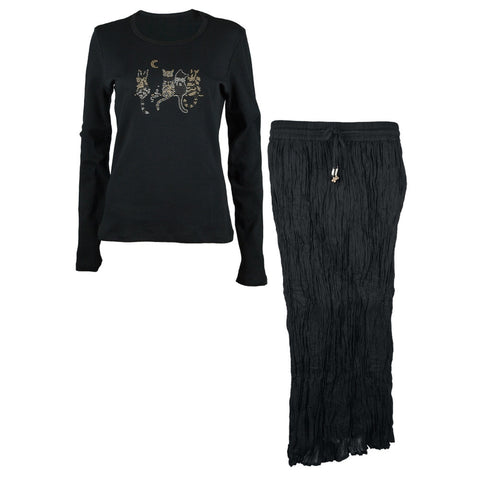 Cats Hanging Around Beaded Long Sleeve T-Shirt and Skirt Set