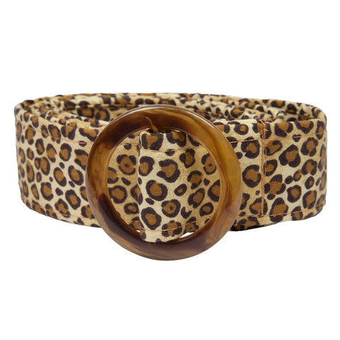 Leopard Print Fabric Belt with Buckle