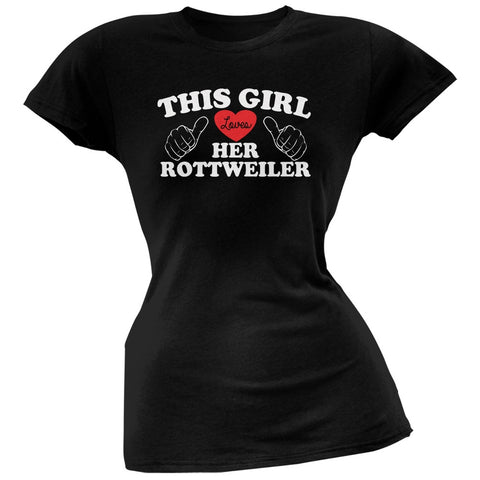 This Girl Loves Her Rottweiler Black Soft Juniors T-Shirt