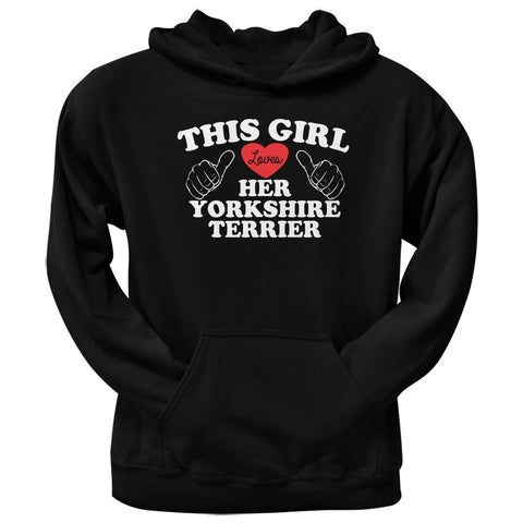 This Girl Loves Her Yorkshire Terrier Black Adult Pullover Hoodie
