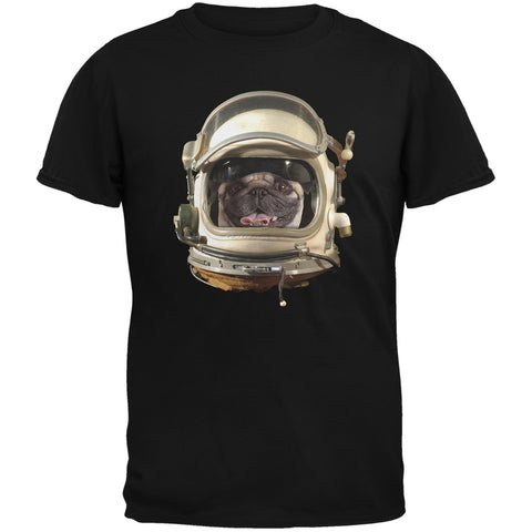 Astronaut Pug Black Adult T-Shirt