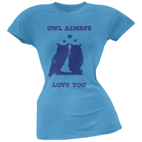 Valentine's Day - Paws - Owl Always Love You Blue Soft Juniors T-Shirt