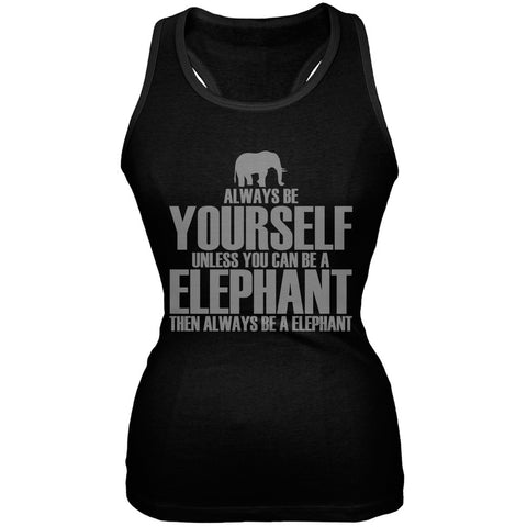 Always Be Yourself Elephant Black Juniors Soft Tank Top