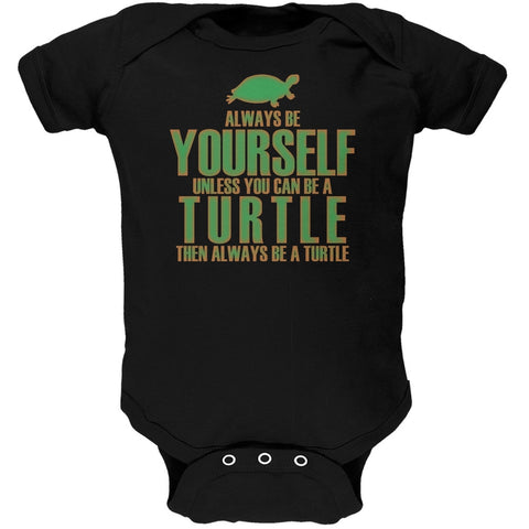 Always Be Yourself Turtle Black Soft Baby One Piece