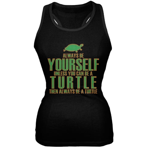 Always Be Yourself Turtle Black Juniors Soft Tank Top