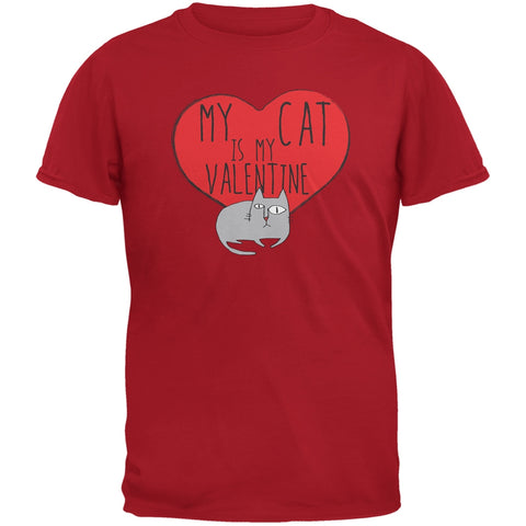 Valentine's Day - My Cat Is My Valentine Red Adult T-Shirt