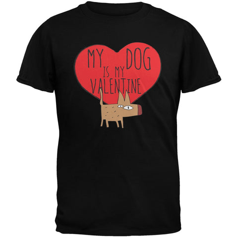 Valentine's Day - My Dog Is My Valentine Black Adult T-Shirt