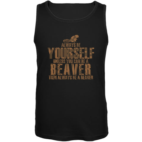 Always Be Yourself Beaver Black Adult Soft Tank Top