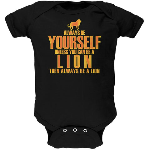 Always Be Yourself Lion Black Soft Baby One Piece