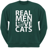 Valentine's Day - Real Men Love Cats Black Adult Crew Neck Sweatshirt