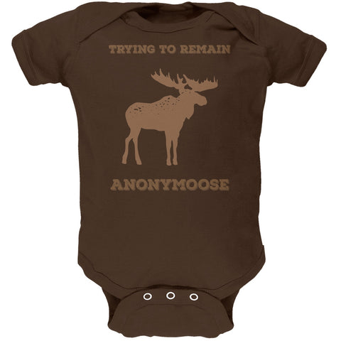 PAWS - Moose Trying to Remain Anonymoose Brown Soft Baby One Piece