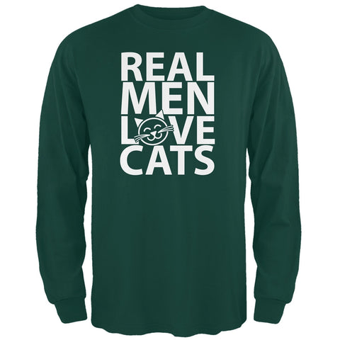 Valentine's Day - Real Men Love Cats Black Adult Long Sleeve T-Shirt