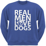 Valentine's Day - Real Men Love Dogs Black Adult Crew Neck Sweatshirt