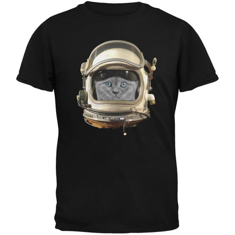 Astronaut Cat Black Adult T-Shirt