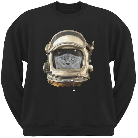 Astronaut Cat Black Adult Crew Neck Sweatshirt