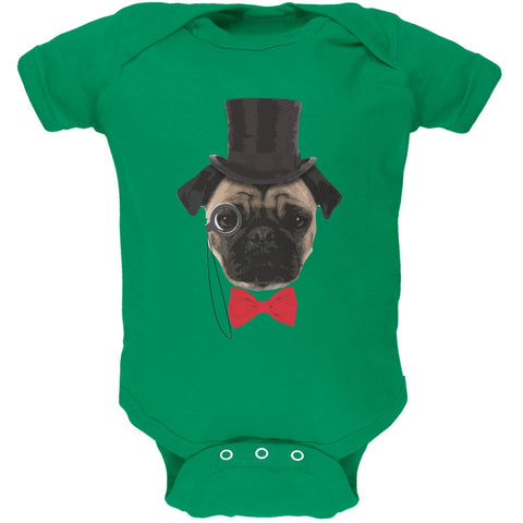 Fancy Pug Kelly Green Soft Baby One Piece