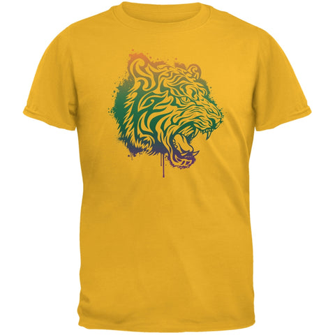 Splatter Tiger Yellow Adult T-Shirt