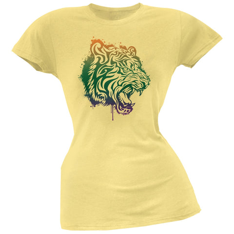 Splatter Tiger Yellow Soft Juniors T-Shirt