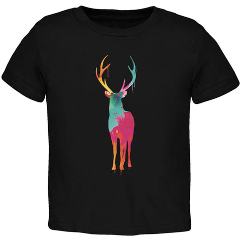 Splatter Deer Black Toddler T-Shirt