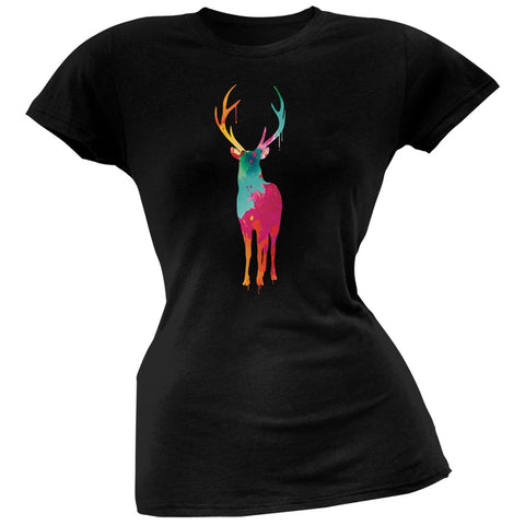 Splatter Deer Black Soft Juniors T-Shirt