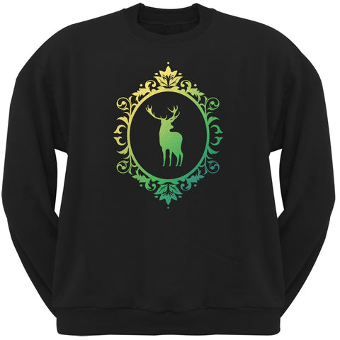 Deer Silhouette Black Adult Crew Neck Sweatshirt
