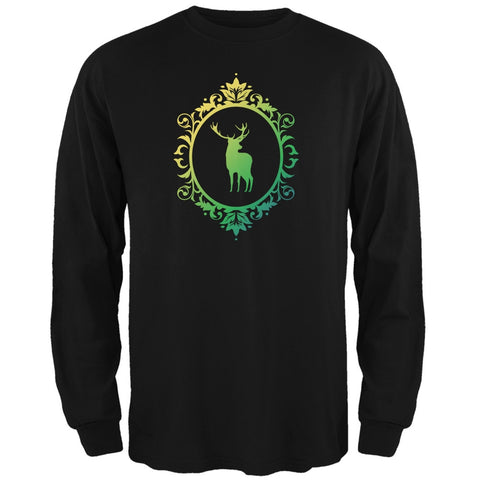Deer Silhouette Black Adult Long Sleeve T-Shirt