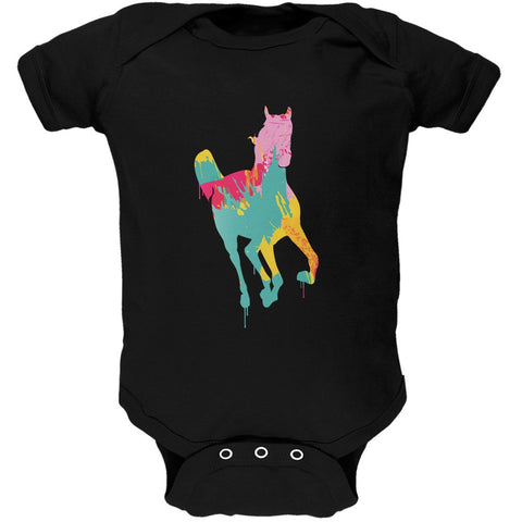 Splatter Horse Black Soft Baby One Piece