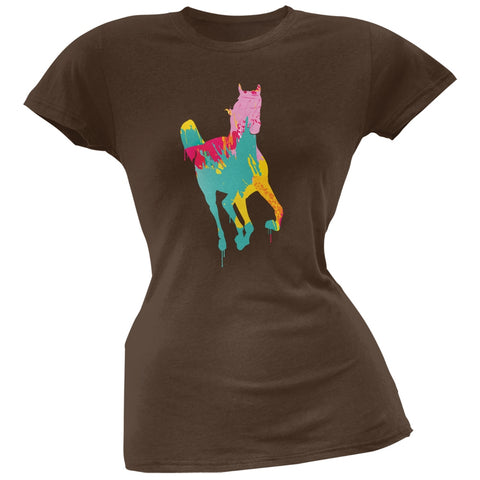 Splatter Horse Brown Soft Juniors T-Shirt