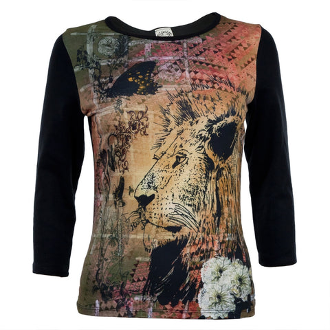 Graphic Lion Women's 3/4 Sleeve T-Shirt