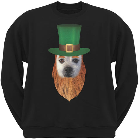 St. Patricks Day - Funny Leprechaun Dog Black Adult Sweatshirt