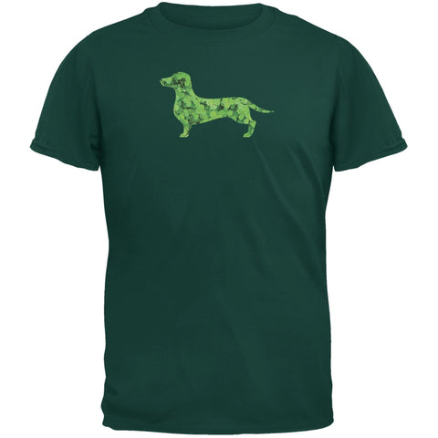 St. Patricks Day - Dachshund Shamrock Forest Green Adult T-Shirt