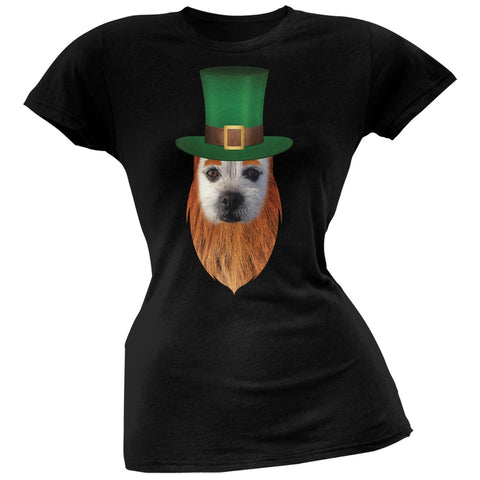 St. Patricks Day - Funny Leprechaun Dog Black Soft Juniors T-Shirt