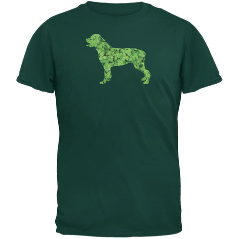 St. Patricks Day - Rottweiler Shamrock Forest Green Adult T-Shirt