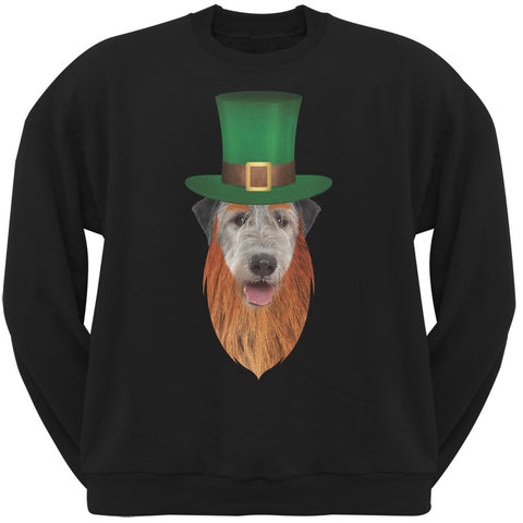 St. Patricks Day - Irish Wolfhound Leprechaun Black Adult Sweatshirt
